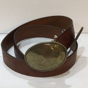 J. Crew tooled leather brass buckle belt made USA